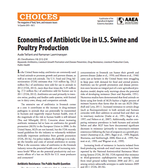 Economics of Antibiotic Use in U.S. Swine and Poultry Production