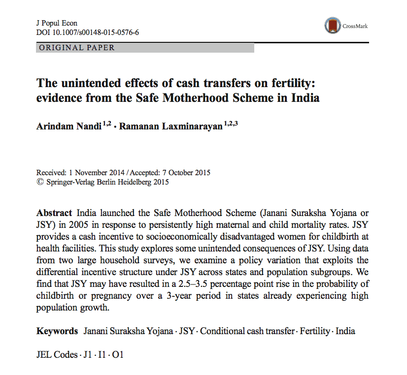 The unintended effects of cash transfers on fertility: evidence from the Safe Motherhood Scheme in India